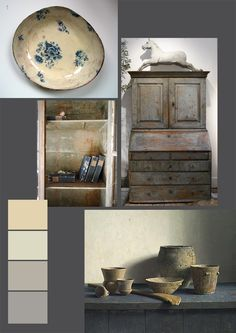 Pretty blue and white china, divine old books and gorgeous antique cupboard