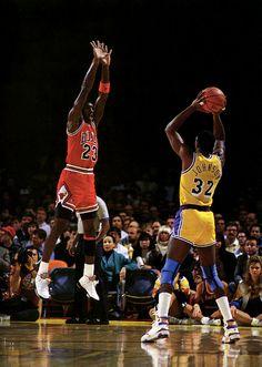 Michael Jordan in the Nike Air Jordan V defending against Magic Johnson 7ed3e3b32