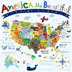 Beautiful America - Canvas Wall Art from Oopsy Daisy, Fine Art For Kids Starting at $99.
