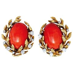 David Webb Mid-Century Mediterranean Coral Diamond Ear Clips | From a unique collection of vintage clip-on earrings at https://www.1stdibs.com/jewelry/earrings/clip-on-earrings/