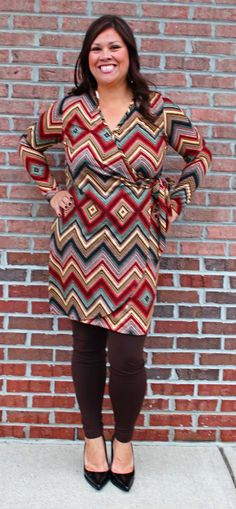 """Wrapped up in Fall"" dress - $45 chocolate leggings - $8 Call 317-889-1150 to order, or email jen@jendaisy.com!"