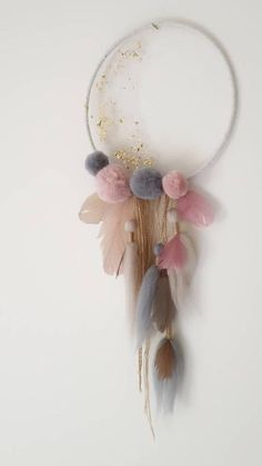 Delicate dream catcher with pom poms, tassels and feathers adorned with gold leaf and tuille. Ready to ship Pom Pom Crafts, Flower Crafts, Wire Crafts, Diy Home Crafts, Clay Pot Crafts, Floral Hoops, Deco Floral, Boho Diy, Baby Room Decor