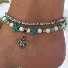 $2.35 AUD - 1 Pcs Anklet Convenient Starfish Turquoise Anklet Gift Bead Pendant Sea Turtle #ebay #Fashion