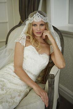 ELLA gown, ELEANOR mantilla veil, FLORA jewel belt