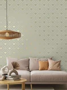 This beautiful Honeycomb Bee Wallpaper will add a stylish finishing touch to your home. The design features a metallic gold geometric honeycomb style pattern of interlocking octagon shapes with diamonds inside and a gold bee motif in the centre. This is set on a soft pale sage green background with a smooth matte finish. Easy to apply, this high quality wallpaper would look great when used to create a feature wall or to decorate an entire room Wallpaper Uk, Feature Wallpaper, Luxury Wallpaper, Contemporary Wallpaper, Gold Metallic Wallpaper, Metallic Gold, Designer Wallpaper Brands, Animal Print Wallpaper, Stunning Wallpapers