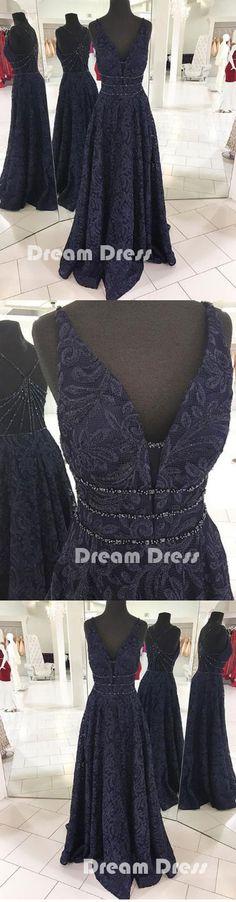 Dark blue v neck long prom dress, blue evening dresses,PD270013 #promdresses #shopping #fashion #dresses #evening