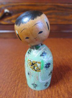 5cm Vintage 1952 Japanese Kokeshi Baby Nodder Doll Woodturned Handmade Kimono   eBay