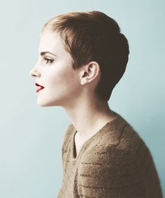 hair beautiful skinny thin Emma Watson lips short hair pixie ear Make up watson emma red lips pale sweather