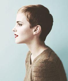 hair beautiful skinny thin Emma Watson lips short hair pixie ear Make up watson emma red lips pale sweather