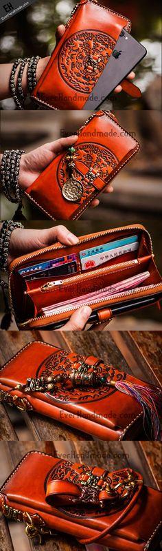 Handmade leather Tibet zipper biker wallet long wallet black leather men