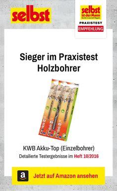 Der KWB Akku-Top (Einzelbohrer) ist der Testsieger im Praxistest Holzbohrer: Wir haben 15 Bohrer getestet.