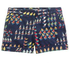 J.Crew Ratti regatta short ($80) ❤ liked on Polyvore featuring shorts, bottoms, pants, patterned shorts, stretchy shorts, summer shorts, zipper shorts and cotton shorts
