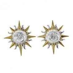 Sterling Silver & Vermeil Sun Face 23mm Post Earrings