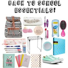 Back to School Essentials! by kikster10627 on Polyvore featuring beauty, Rimmel, Maybelline, Eos, Sephora Collection, Converse and Ted Baker