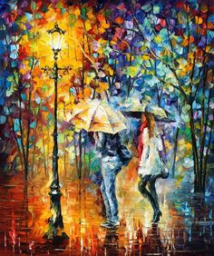"CONVERSATION — PALETTE KNIFE Oil Painting On Canvas By Leonid Afremov - Size 30""x36"""