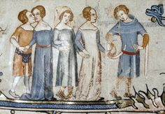 Young people in fine dress. Tournai 1338-44. MS Bodl. 264