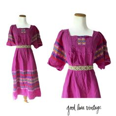 Embroidered Dress Guatemalan Ethnic Mexican Style Caftan 70s 1970s Hippie Boho Festival Wear Pink Purple Guatemala Aztec Plus Size Large XL by GoodLuxeVintage on Etsy