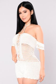 - Available In Ivory - Off The Shoulder - Lace Up - Full Crochet Romper - 100% Acrylic