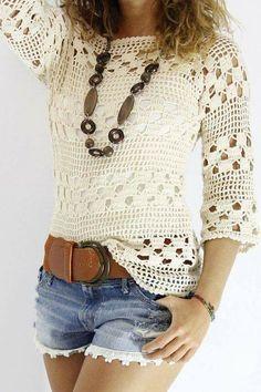 Blusa blanca tejida a crochet blusas Blusa blanca tejida a crochet - Patrones gratis Blouse Au Crochet, Poncho Crochet, Pull Crochet, Mode Crochet, Crochet Shirt, Crochet Lace, Crochet Stitches, Crochet Tops, Crochet Gratis