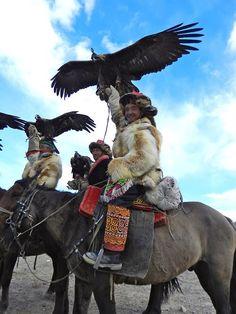 Eagle hunter festival. Mongolia