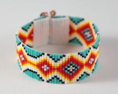 Telar de grano ancho Tribal ultra pulsera brazalete por PuebloAndCo