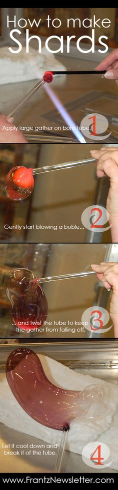 How to make glass shards for lampworking. Works great on dense transparent glass colors.