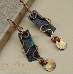 Hammered Rustic Copper Earrings by SunStones on Etsy, $17.50