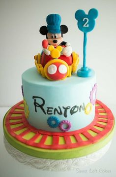 mickey mouse train conductor birthday party | Mickey Mouse Train Conductor Birthday Cake - by Sweet_Loft ...