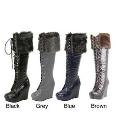 @Overstock - Step into high style with these I-Comfort women's knee-high lace-up boots. These chic boots feature a lace-up front, wedge heel, and faux fur trim.http://www.overstock.com/Clothing-Shoes/I-Comfort-Womens-Knee-high-Faux-Fur-Lace-up-Boots/7304552/product.html?CID=214117 $35.99