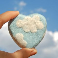Blue Heart with White Clouds (Felted Lavender Soap)