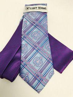 Stacy Adams Tie & Hanky Set Powder Blue Pink Fushia Multi Design Microfiber Men #StacyAdams #TieHankySet
