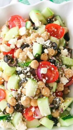 Greek Garbanzo Bean Salad - I'm going to try this with kalmata olives and the dressing on the side....