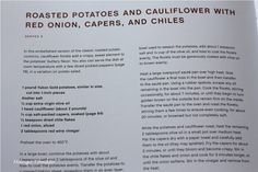 Mango & Tomato: Roasted potatoes with cauliflower, capers & red onions