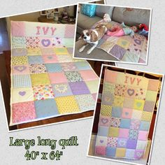 New Baby Quilt Shabby Chic Quilt Personalisierte Steppdecke Neu Baby Patchwork Quilt, Baby Quilts, Shabby Chic Quilts, Personalised Cushions, Dog Blanket, Baby Blankets, Fabric Gifts, Toddler Gifts, Baby Play
