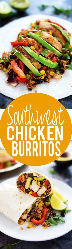 Southwest Chicken Burritos ready in 30 minutes or less! | Creme de la Crumb