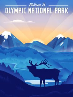 Travel Poster Olympic National Park by Martin Wickstrom National Park Posters, National Parks, Travel Posters, Vintage Posters, Olympics, Art Decor, Deer, America, Monuments
