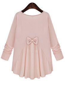 Blusa cuello redondo manga larga lazo -rosa