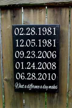 "What a difference a day Makes - 10"" x 15"" CUSTOM WOODEN SIGN - Important dates"