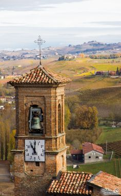 Hills and bell tower, Barolo, province of Cuneo, Piemonte, Italy