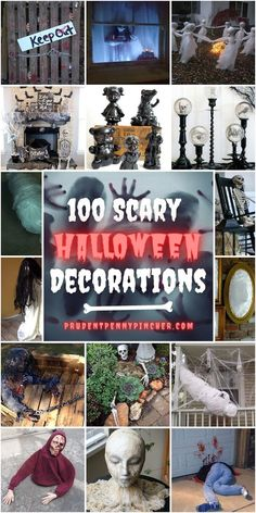 Give your trick or treaters and neighbors a spook with these scary DIY Halloween decorations. There are creepy ghosts, zombies, monsters, body parts and much more! With these indoor and outdoor halloween decor ideas, you can transform your whole home into a haunted house that is perfect for a halloween party. Cheap Halloween Decorations, Halloween Mantel, Outdoor Halloween, Halloween House, Halloween Diy, Halloween Stuff, Happy Halloween, Halloween Witches, Outdoor Decorations