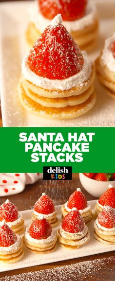 This is the only way to wake up on Christmas morning. Get the recipe at Delish.com. #pancakes #christmas #recipe #easyrecipes #breakfast #strawberry #whippedcream #santa