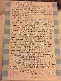 Letter to my daughter about the truth of the tooth fairy.