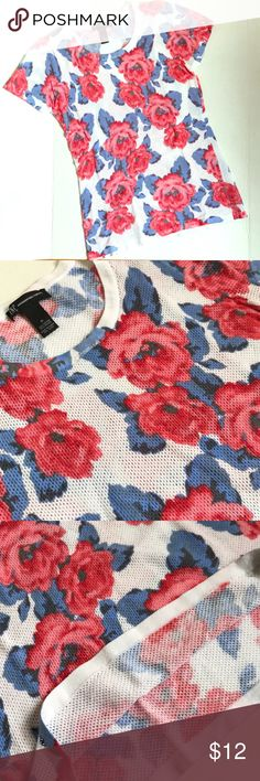INC floral print knit tee Bold but simple. Pair with white shorts for the ultimate easy spring look. INC International Concepts Tops Tees - Short Sleeve