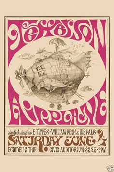 Classic Rock: Jefferson Airplane Psychedelic Concert Poster Circa 1967