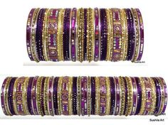 Bridal Bangles Set of 104 Bracelet Traditional Indian Wedding Jewllery Purple