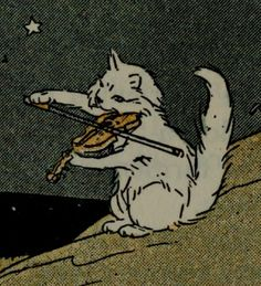 Car violin viola cow jumped over the moon riddle illustration white kitten cartoon Art And Illustration, Arte Indie, Art Mignon, Arte Obscura, Grafik Design, Aesthetic Art, Aesthetic Memes, Cat Art, Art Inspo