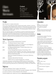 5. My black CV design for a paper cut artist