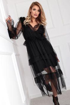 MIST- tiulowa sukienka z falbanami (czarna) Retro Style, Boho Style, Retro Fashion, Boho Fashion, High Low, Dresses, Vestidos, Retro Styles, Gowns