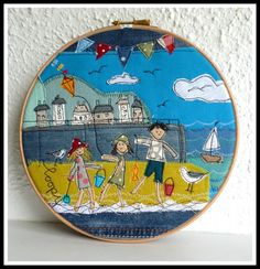 Children on a beach - cool machine free-motion embroidery/appliqué Freehand Machine Embroidery, Free Motion Embroidery, Machine Embroidery Applique, Applique Templates, Applique Patterns, Applique Designs, House Quilt Patterns, Fabric Postcards, Fabric Pictures