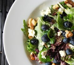 salad with blueberries, bleu cheese and walnuts.